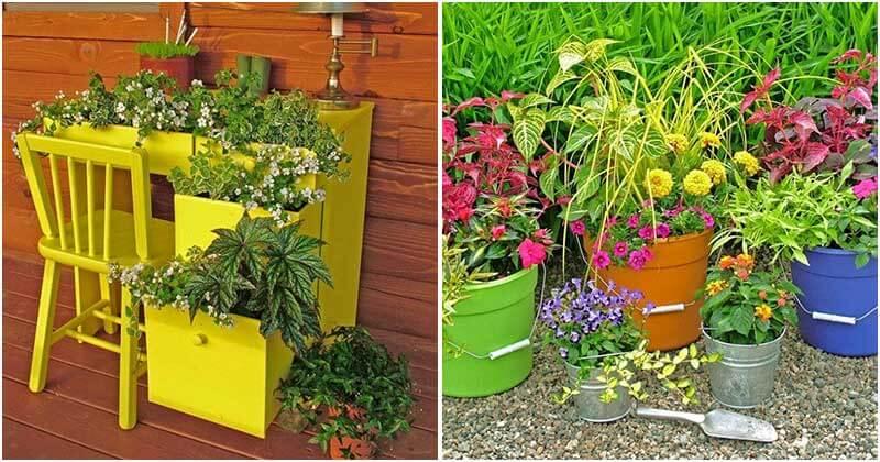16 Creative Upcycling Container Garden, Planter, and Vase Ideas